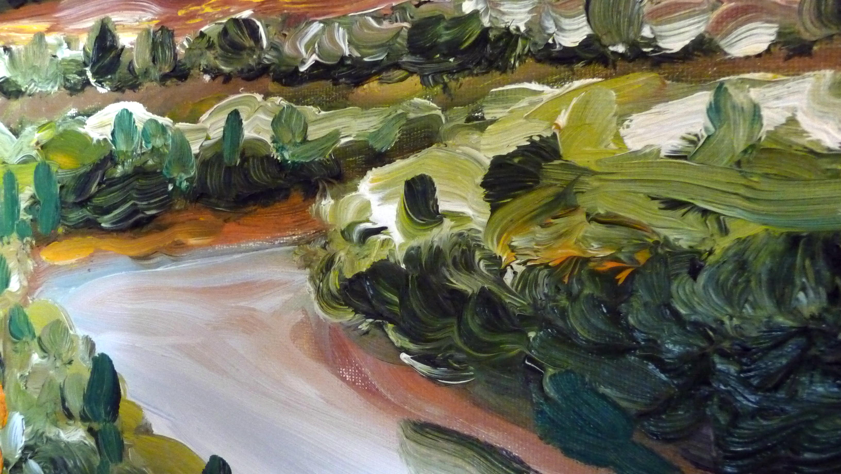 'RIVERSBEND' (DETAIL) OIL PAINTING